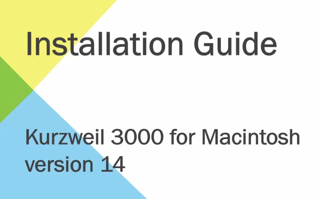 Installation of Kurzweil 3000 for Macintosh Walkthrough